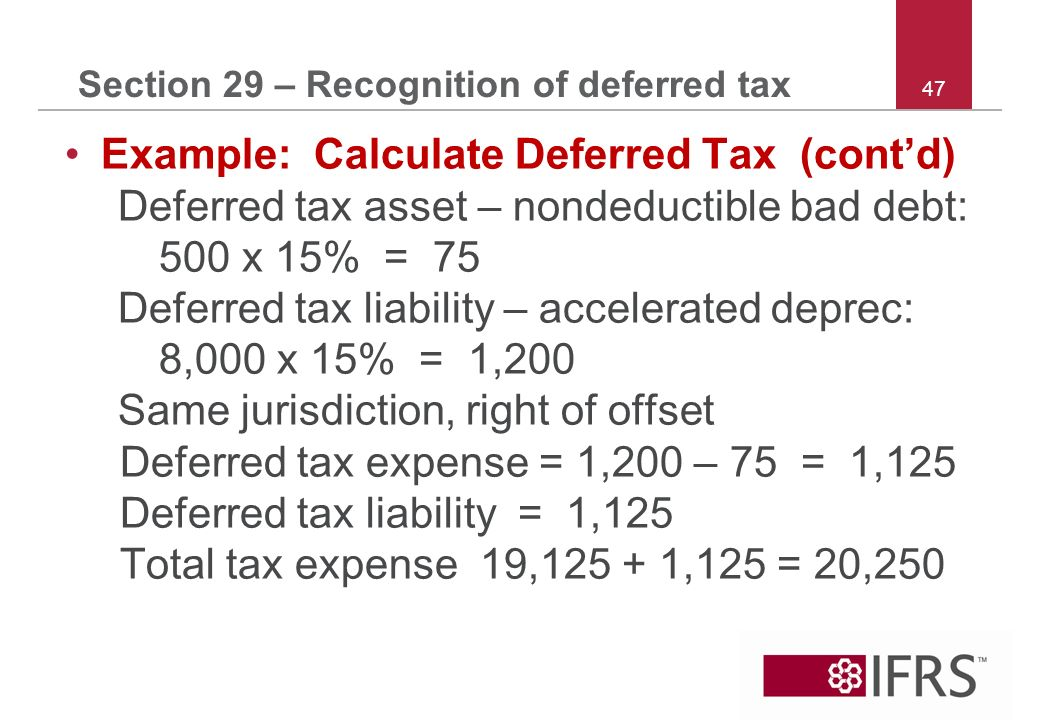47 Section 29 – Recognition of deferred tax Example: Calculate Deferred Tax (contd) Deferred tax asset – nondeductible bad debt: 500 x 15% = 75 Deferred tax liability – accelerated deprec: 8,000 x 15% = 1,200 Same jurisdiction, right of offset Deferred tax expense = 1,200 – 75 = 1,125 Deferred tax liability = 1,125 Total tax expense 19,125 + 1,125 = 20,250