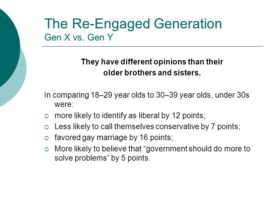 The Re-Engaged Generation Gen X vs. Gen Y They have different opinions than their older brothers and sisters. In comparing 18–29 year olds to 30–39 ye