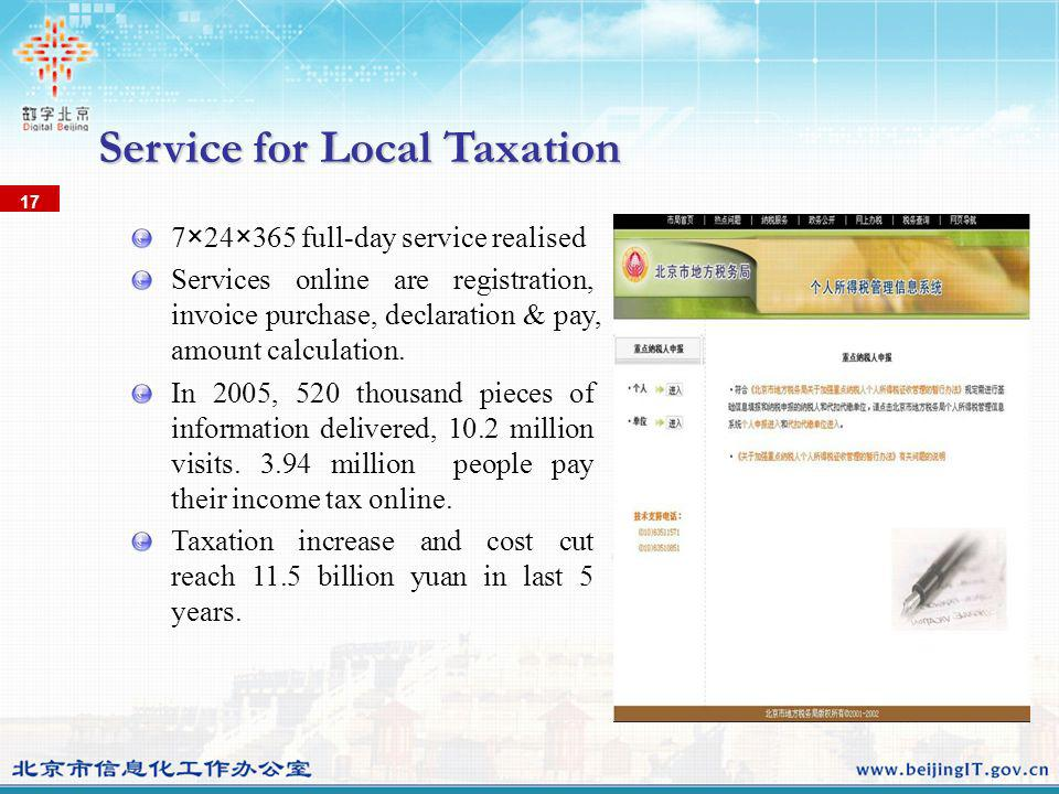 Service for Local Taxation 17 7×24×365 full-day service realised Services online are registration, invoice purchase, declaration & pay, amount calculation.