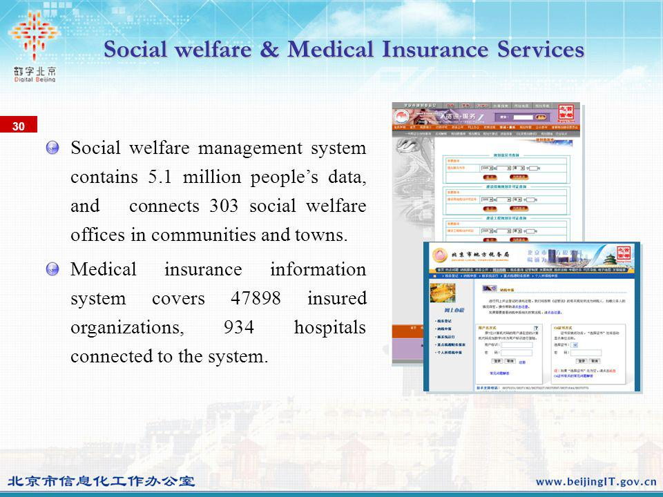 Social welfare management system contains 5.1 million peoples data, and connects 303 social welfare offices in communities and towns. Medical insuranc