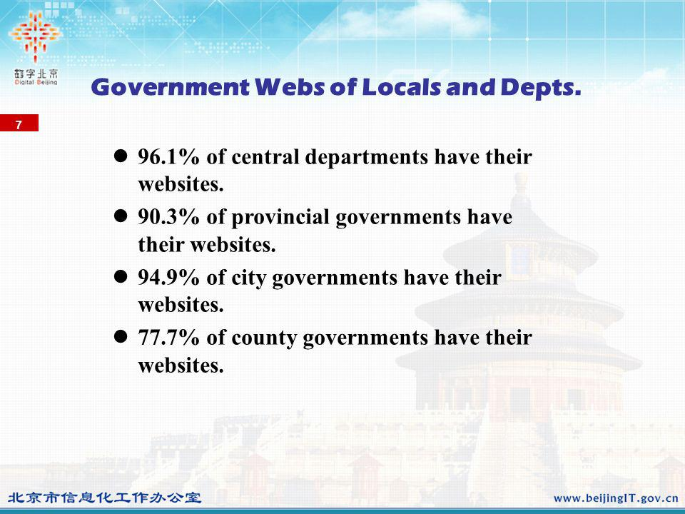 Government Webs of Locals and Depts. 96.1% of central departments have their websites. 90.3% of provincial governments have their websites. 94.9% of c