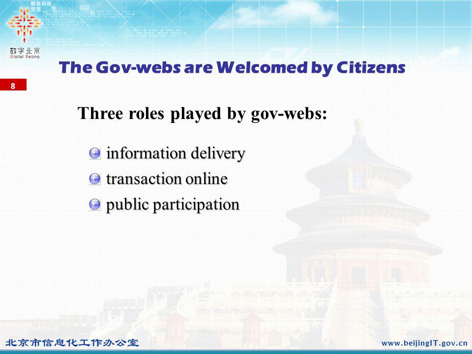 8 The Gov-webs are Welcomed by Citizens information delivery transaction online public participation Three roles played by gov-webs:
