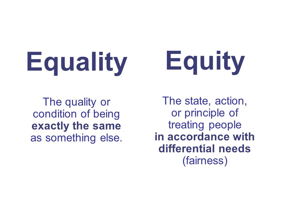 Equity The state, action, or principle of treating people in accordance with differential needs (fairness) Equality The quality or condition of being exactly the same as something else.