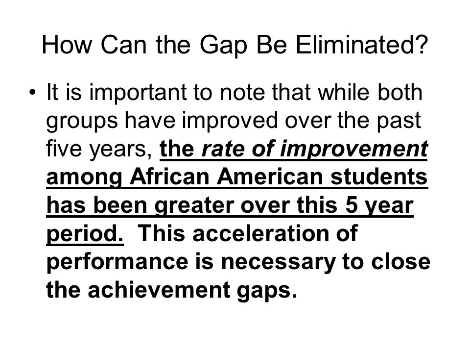 How Can the Gap Be Eliminated.