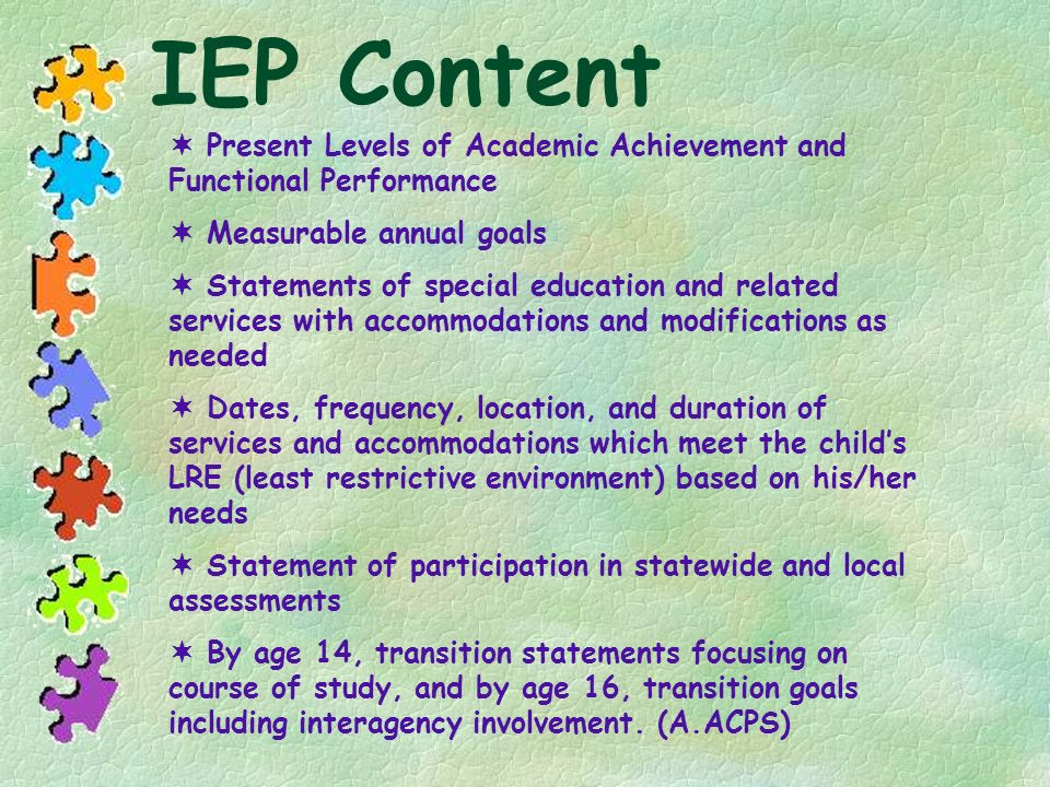 IEP Content Present Levels of Academic Achievement and Functional Performance Measurable annual goals Statements of special education and related serv