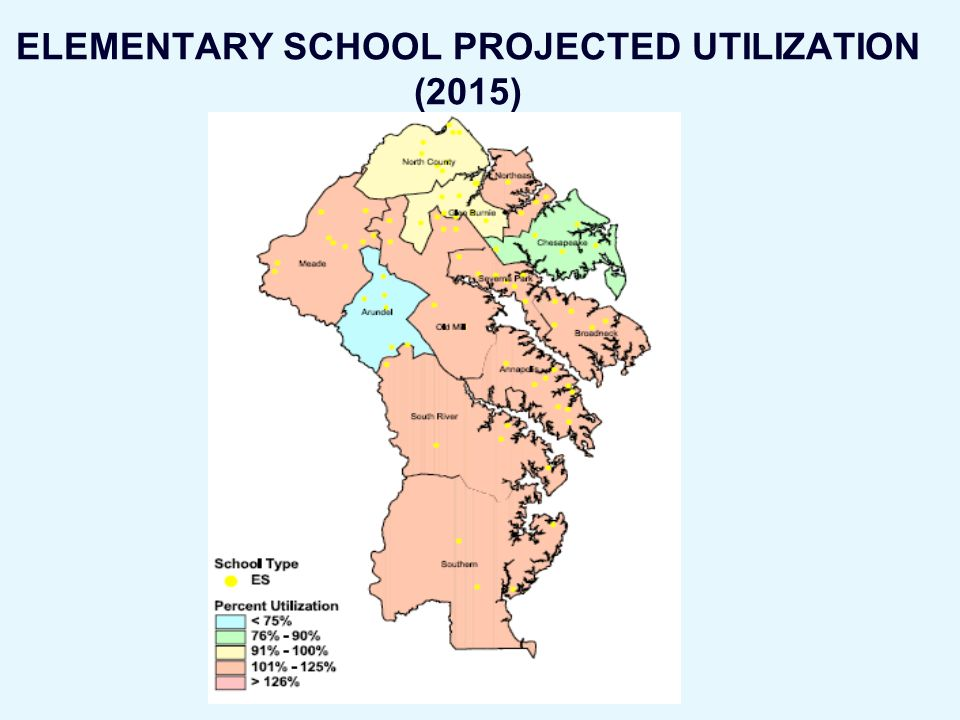 ELEMENTARY SCHOOL PROJECTED UTILIZATION (2015)
