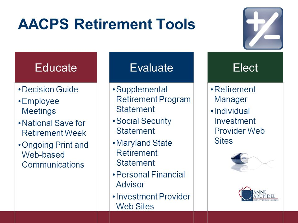 AACPS Retirement Tools EducateEvaluateElect Decision Guide Employee Meetings National Save for Retirement Week Ongoing Print and Web-based Communications Supplemental Retirement Program Statement Social Security Statement Maryland State Retirement Statement Personal Financial Advisor Investment Provider Web Sites Retirement Manager Individual Investment Provider Web Sites