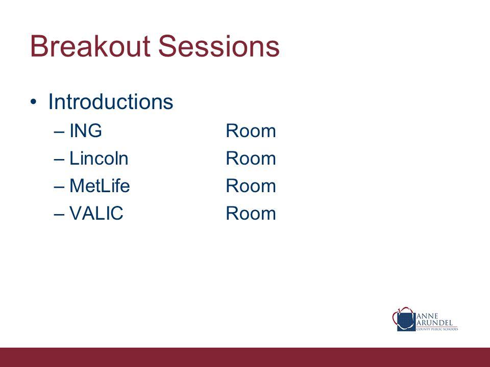 Breakout Sessions Introductions –INGRoom –LincolnRoom –MetLifeRoom –VALICRoom