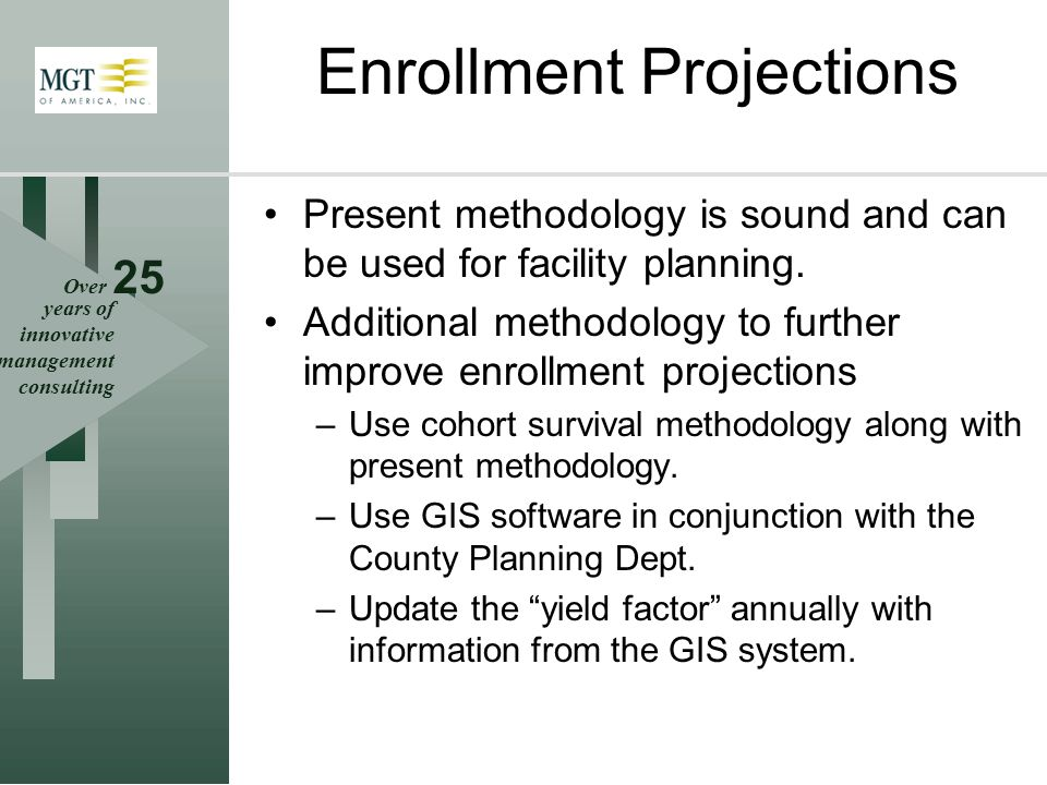Over 25 years of innovative management consulting Enrollment Projections Present methodology is sound and can be used for facility planning. Additiona