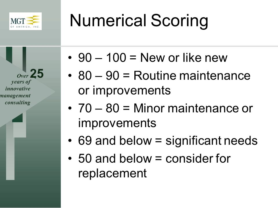 Over 25 years of innovative management consulting Numerical Scoring 90 – 100 = New or like new 80 – 90 = Routine maintenance or improvements 70 – 80 =