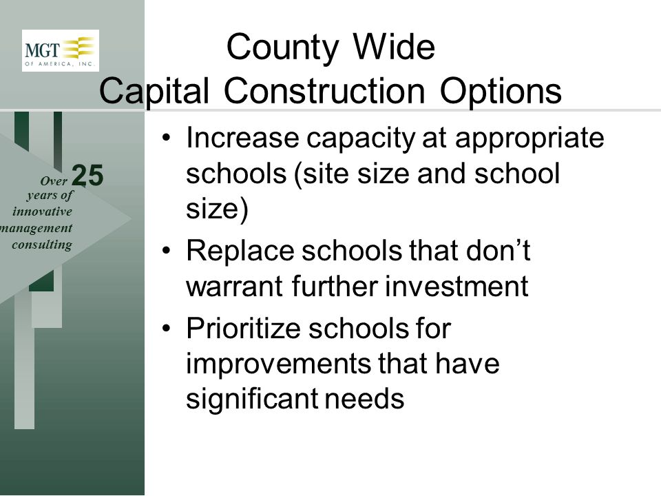 Over 25 years of innovative management consulting County Wide Capital Construction Options Increase capacity at appropriate schools (site size and school size) Replace schools that dont warrant further investment Prioritize schools for improvements that have significant needs