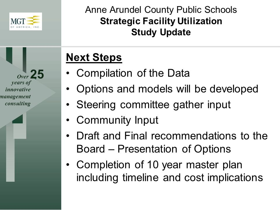Over 25 years of innovative management consulting Next Steps Compilation of the Data Options and models will be developed Steering committee gather input Community Input Draft and Final recommendations to the Board – Presentation of Options Completion of 10 year master plan including timeline and cost implications Anne Arundel County Public Schools Strategic Facility Utilization Study Update