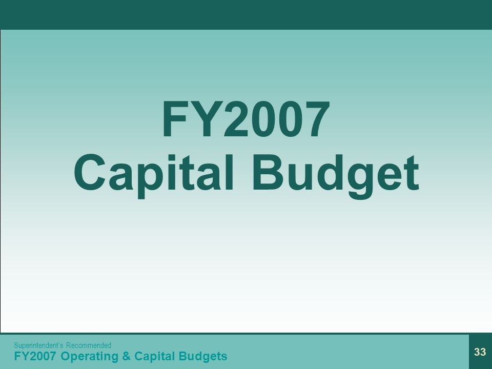 33 FY2007 Capital Budget 33 Superintendents Recommended FY2007 Operating & Capital Budgets