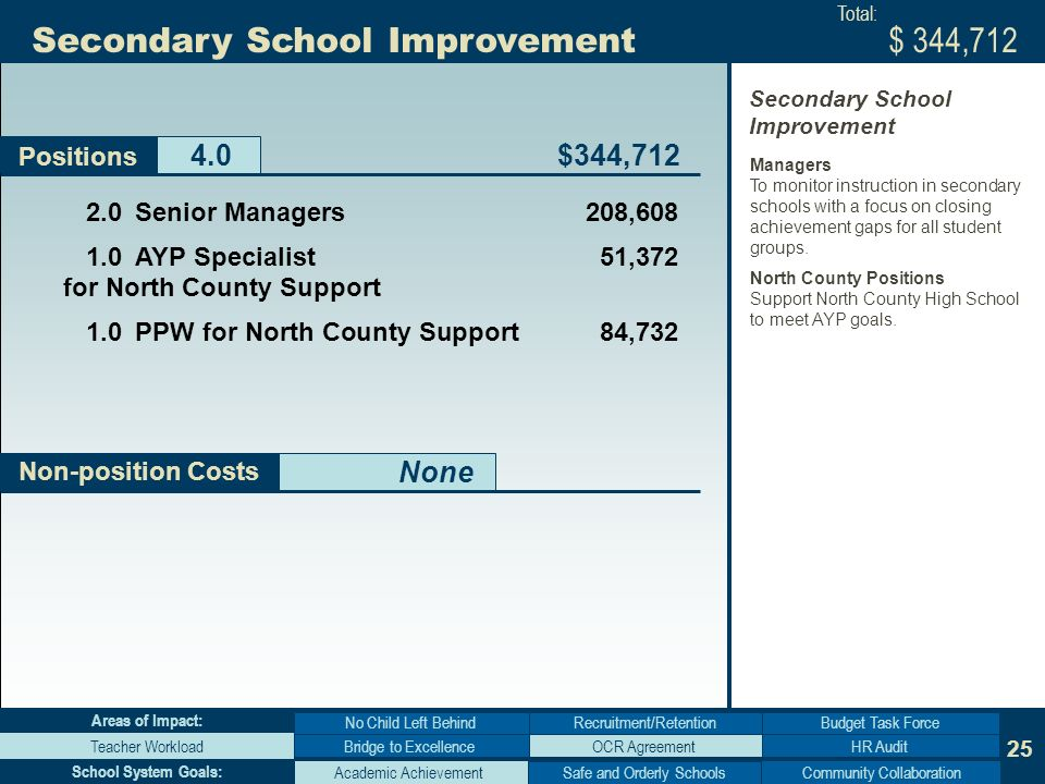 25 Non-position Costs Secondary School Improvement None Positions Bridge to Excellence No Child Left Behind Teacher WorkloadHR Audit Budget Task Force Areas of Impact: Academic AchievementCommunity Collaboration School System Goals: Senior Managers 208, AYP Specialist 51,372 for North County Support 1.0PPW for North County Support 84,732 $344,712 Total: Managers To monitor instruction in secondary schools with a focus on closing achievement gaps for all student groups.