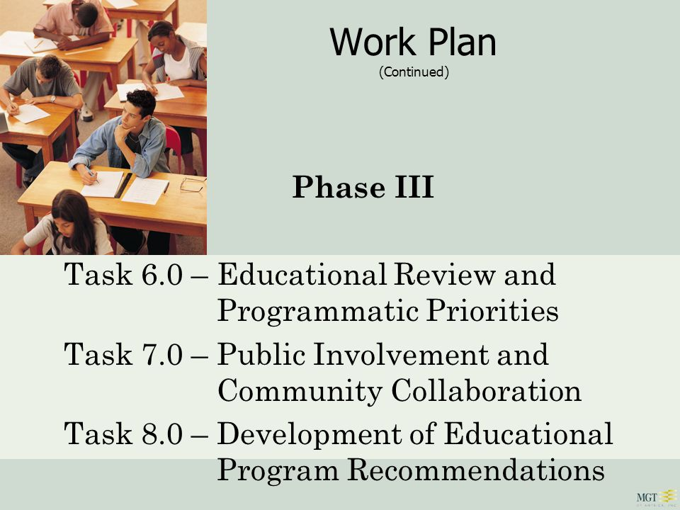 Work Plan (Continued) Phase III Task 6.0 – Educational Review and Programmatic Priorities Task 7.0 – Public Involvement and Community Collaboration Ta