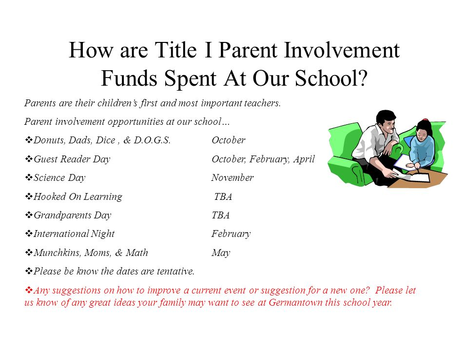 How are Title I Parent Involvement Funds Spent At Our School? Parents are their childrens first and most important teachers. Parent involvement opport