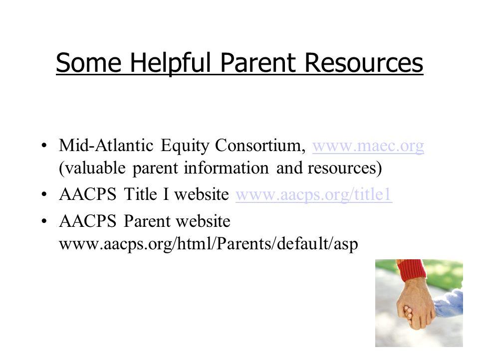 Some Helpful Parent Resources Mid-Atlantic Equity Consortium, www.maec.org (valuable parent information and resources)www.maec.org AACPS Title I website www.aacps.org/title1www.aacps.org/title1 AACPS Parent website www.aacps.org/html/Parents/default/asp