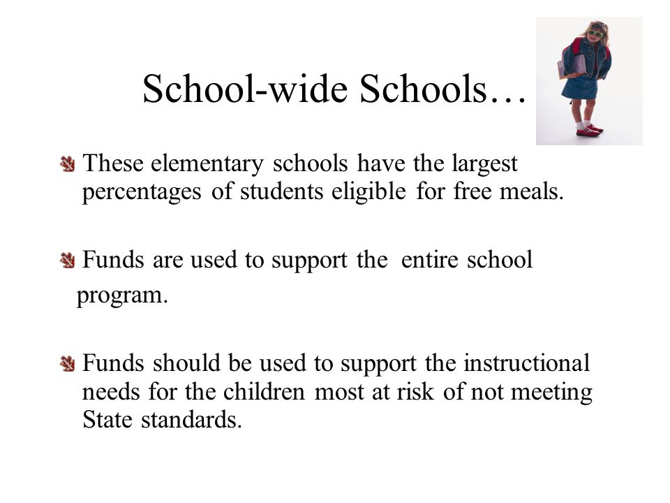 School-wide Schools… These elementary schools have the largest percentages of students eligible for free meals.