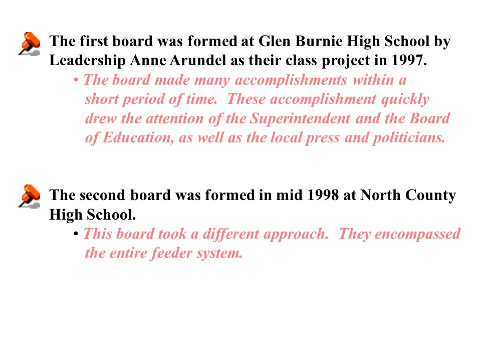 The first board was formed at Glen Burnie High School by Leadership Anne Arundel as their class project in 1997.