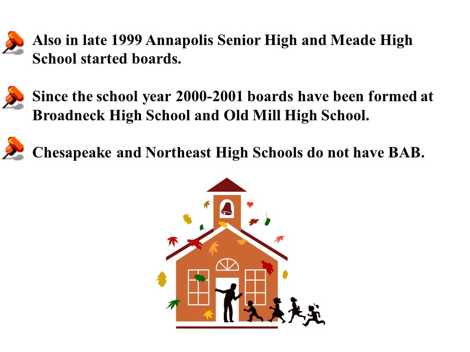 Also in late 1999 Annapolis Senior High and Meade High School started boards.