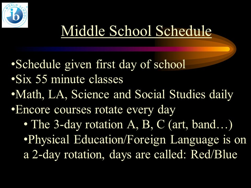 Middle School Schedule Schedule given first day of school Six 55 minute classes Math, LA, Science and Social Studies daily Encore courses rotate every day The 3-day rotation A, B, C (art, band…) Physical Education/Foreign Language is on a 2-day rotation, days are called: Red/Blue