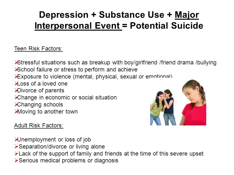 Depression + Substance Use + Major Interpersonal Event = Potential Suicide Teen Risk Factors: Stressful situations such as breakup with boy/girlfriend