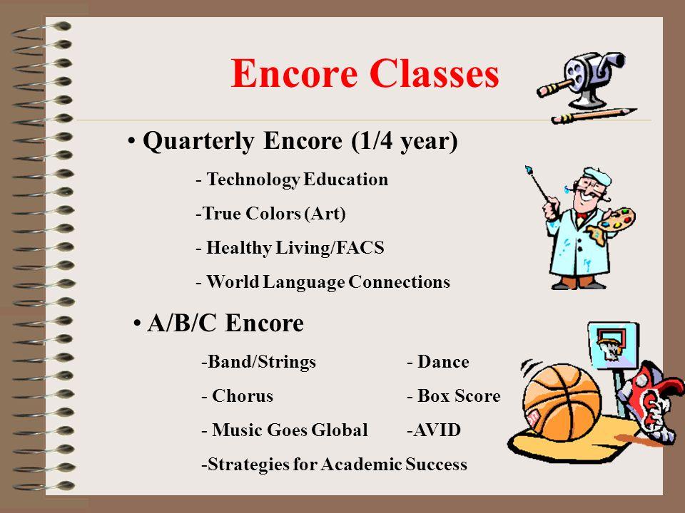 Regular Class Schedule 6 th grade STUDENT ARRIVAL 9:00 PERIOD 1: 9:10 – 10:11 PERIOD 2: 10:15 – 11:13 ENCORE Lunch: 11:17 – 11:42 PERIOD 3: 11:46 – 12