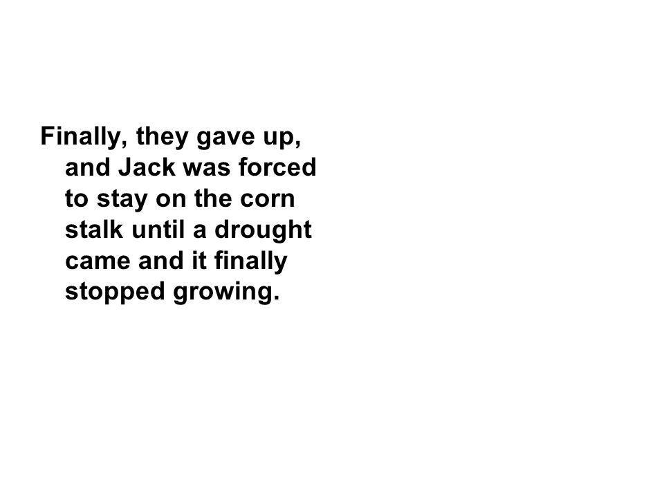 Finally, they gave up, and Jack was forced to stay on the corn stalk until a drought came and it finally stopped growing.