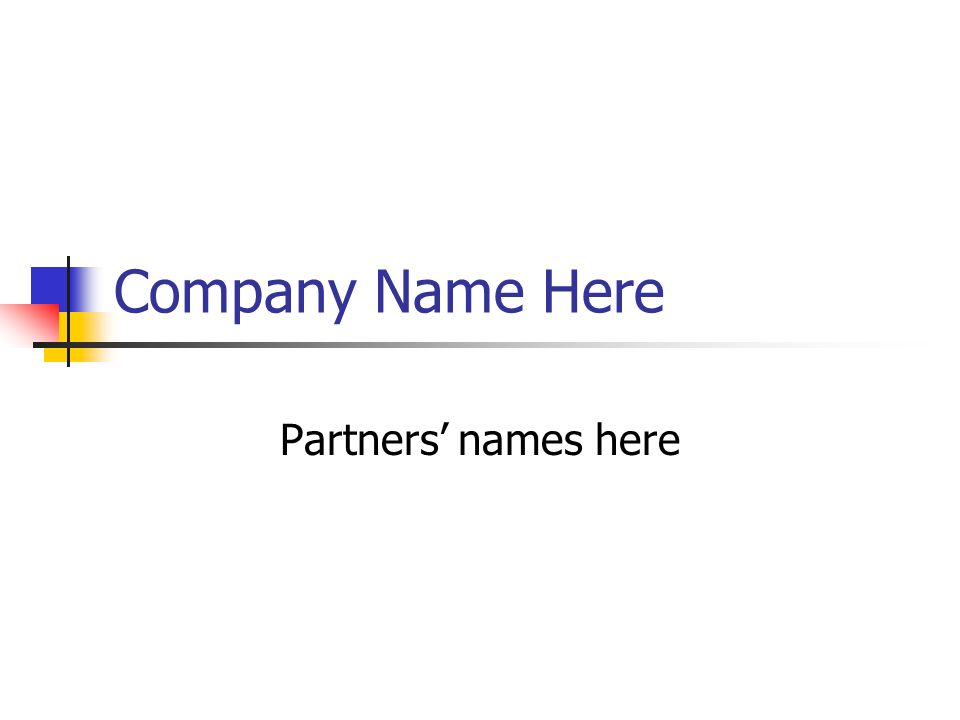 Company Name Here Partners names here