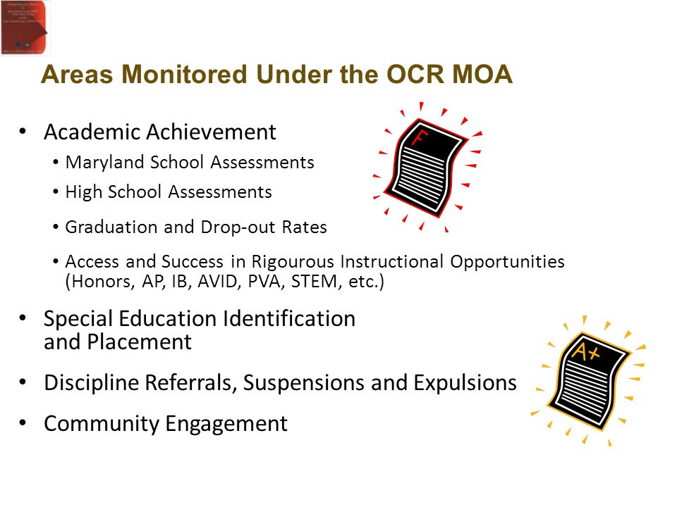 Areas Monitored Under the OCR MOA Academic Achievement Maryland School Assessments High School Assessments Graduation and Drop-out Rates Access and Su