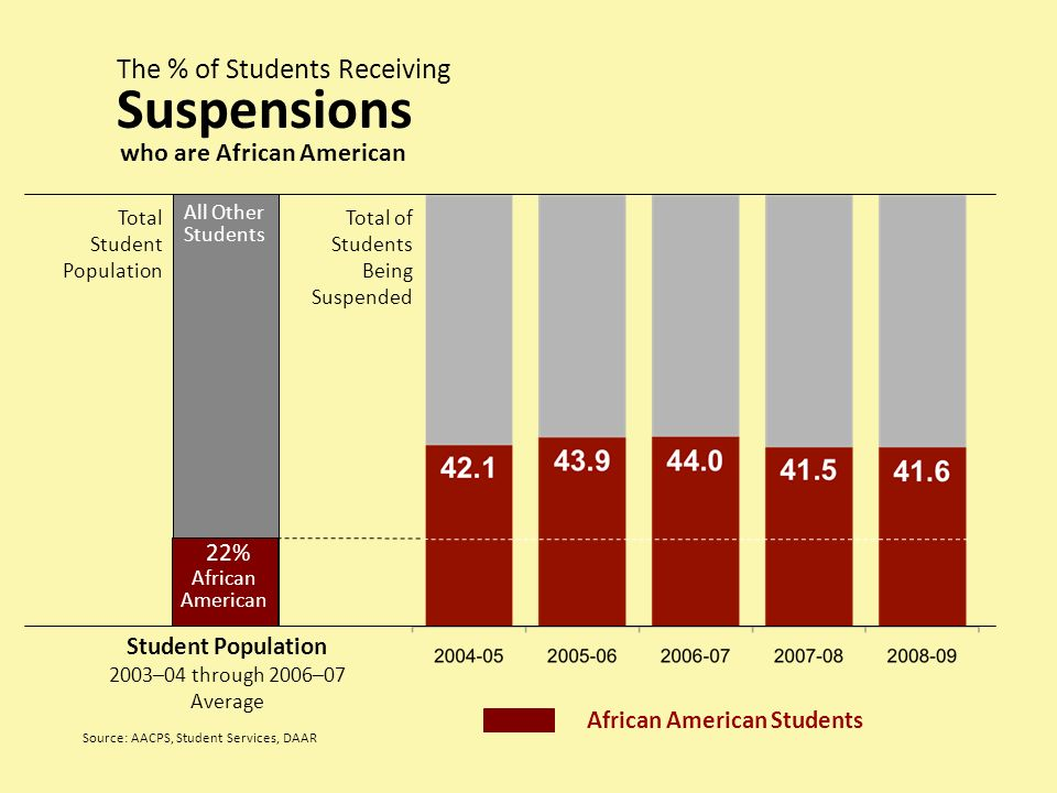 Total Student Population Student Population 2003–04 through 2006–07 Average African American Students African American 22% The % of Students Receiving