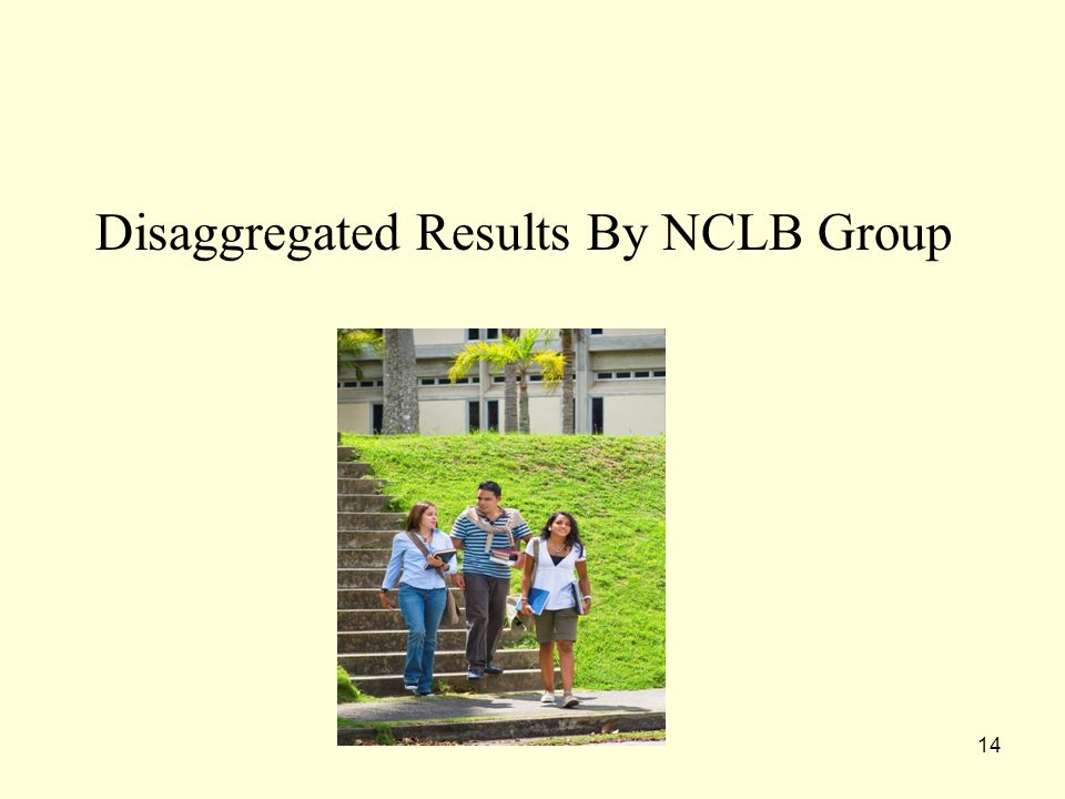 14 Disaggregated Results By NCLB Group