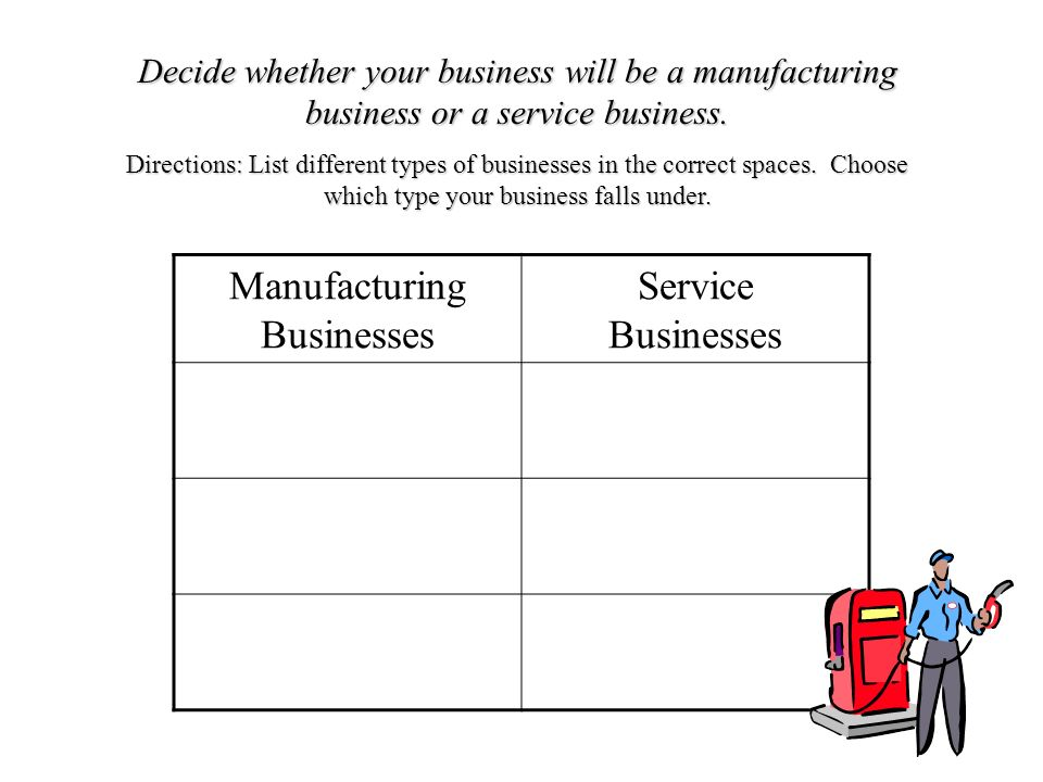 Decide whether your business will be a manufacturing business or a service business.
