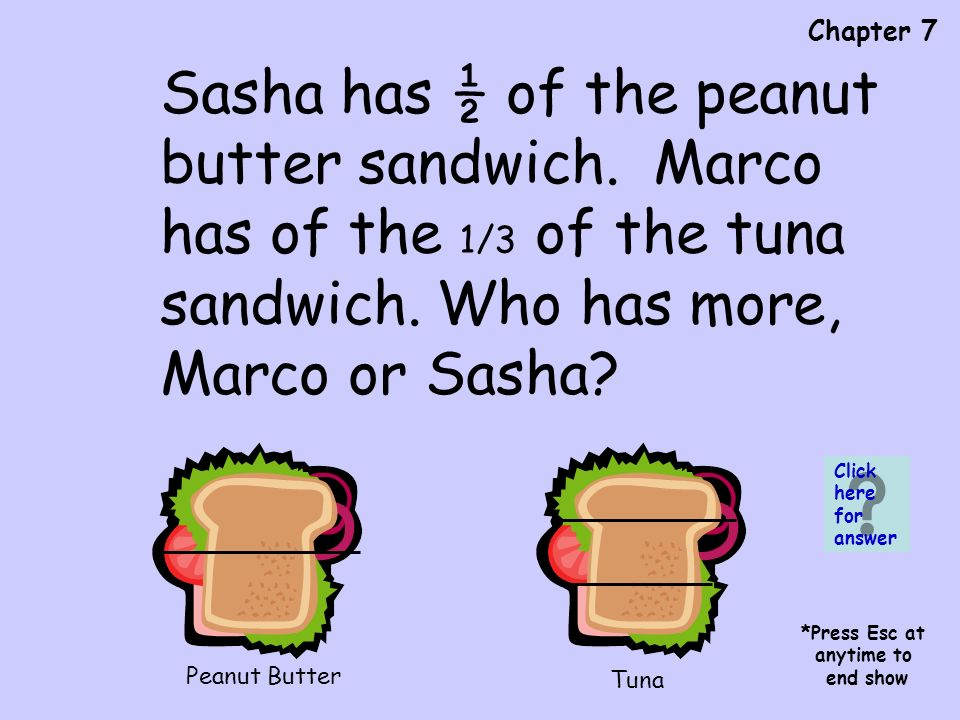 Chapter 7 Peanut Butter Tuna Sasha has ½ of the peanut butter sandwich.