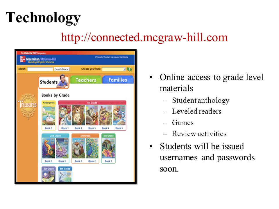 Technology Online access to grade level materials –Student anthology –Leveled readers –Games –Review activities Students will be issued usernames and