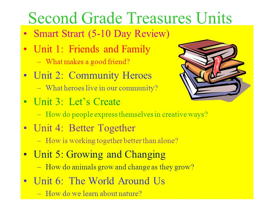 Second Grade Treasures Units Smart Strart (5-10 Day Review) Unit 1: Friends and Family –What makes a good friend? Unit 2: Community Heroes –What heroe