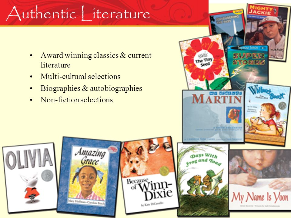 Authentic Literature Award winning classics & current literature Multi-cultural selections Biographies & autobiographies Non-fiction selections