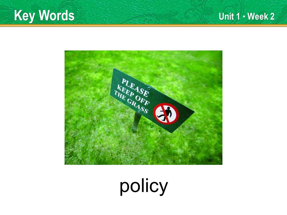 Unit 1 Week 2 policy Key Words