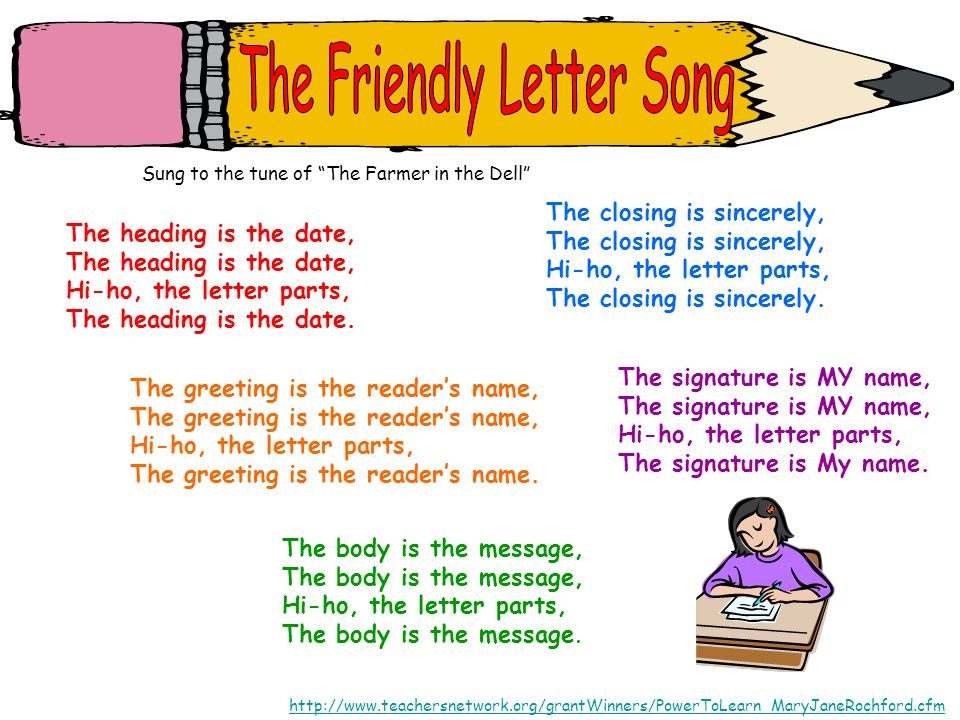 Sung to the tune of The Farmer in the Dell http://www.teachersnetwork.org/grantWinners/PowerToLearn_MaryJaneRochford.cfm The heading is the date, Hi-h