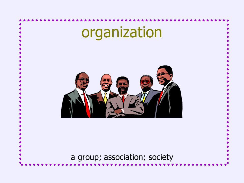 organization a group; association; society