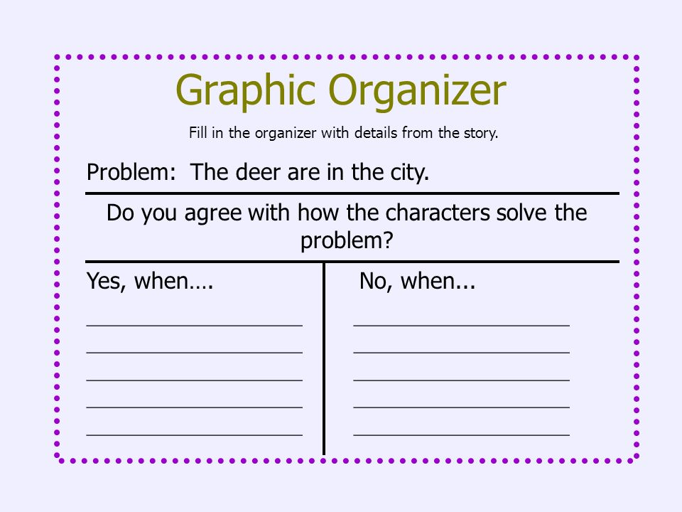 Fill in the organizer with details from the story. Graphic Organizer Problem: The deer are in the city. Do you agree with how the characters solve the