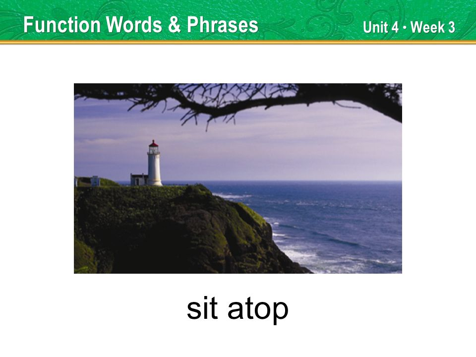 Unit 4 Week 3 sit atop Function Words & Phrases