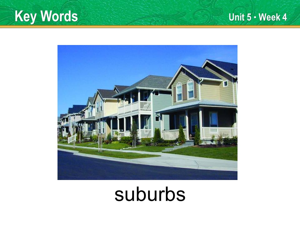 Unit 5 Week 4 suburbs Key Words