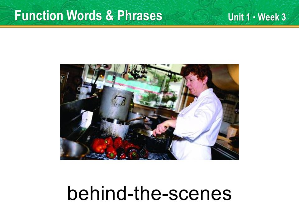 Unit 1 Week 3 behind-the-scenes Function Words & Phrases