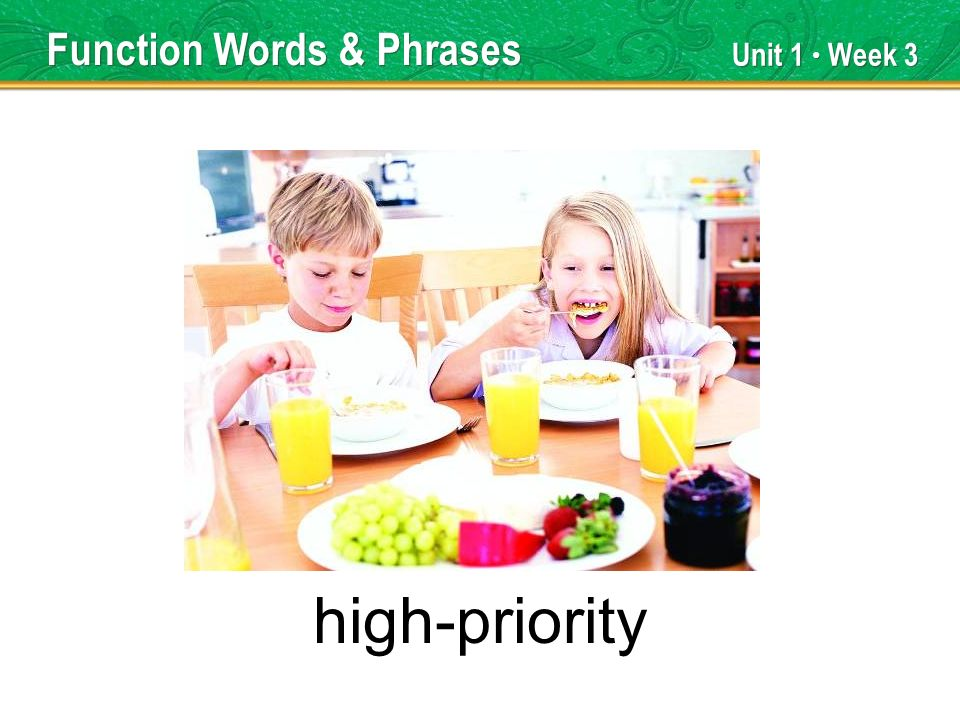 Unit 1 Week 3 high-priority Function Words & Phrases