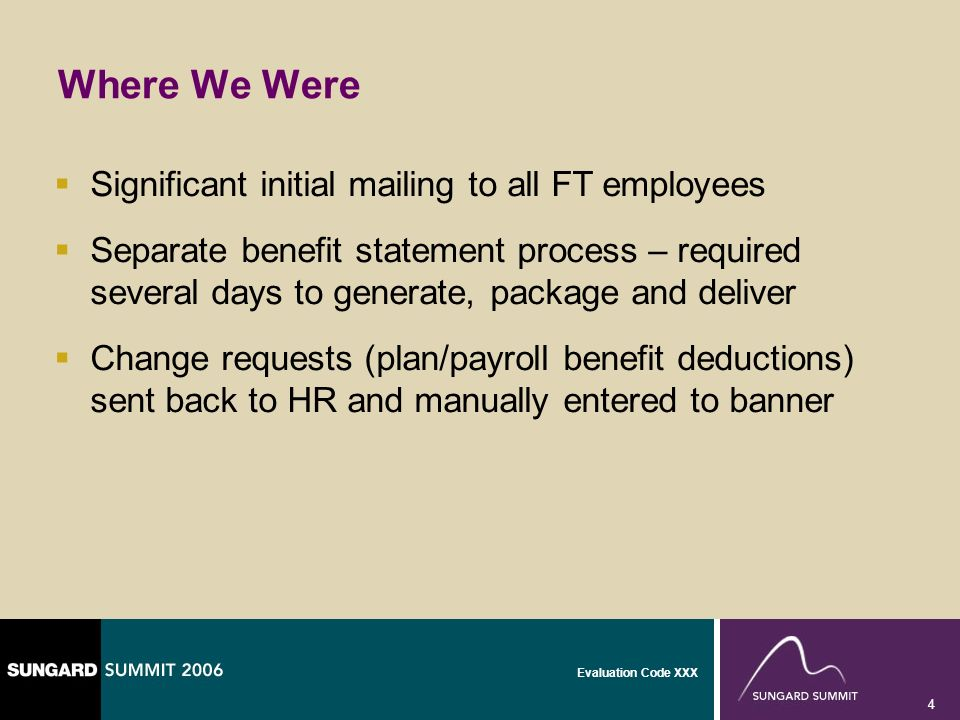 Evaluation Code XXX 4 Where We Were Significant initial mailing to all FT employees Separate benefit statement process – required several days to gene