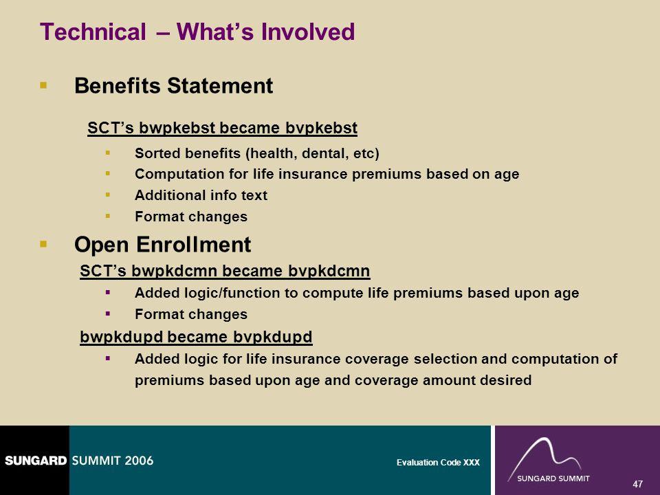 Evaluation Code XXX 47 Technical – Whats Involved Benefits Statement SCTs bwpkebst became bvpkebst Sorted benefits (health, dental, etc) Computation f