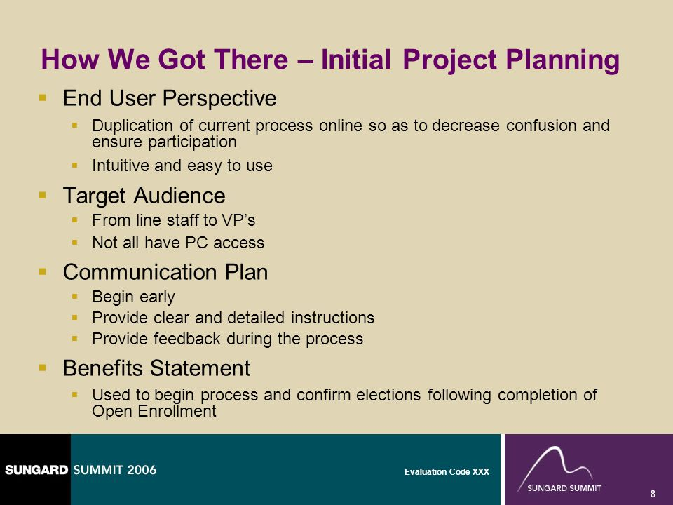 Evaluation Code XXX 8 How We Got There – Initial Project Planning End User Perspective Duplication of current process online so as to decrease confusi