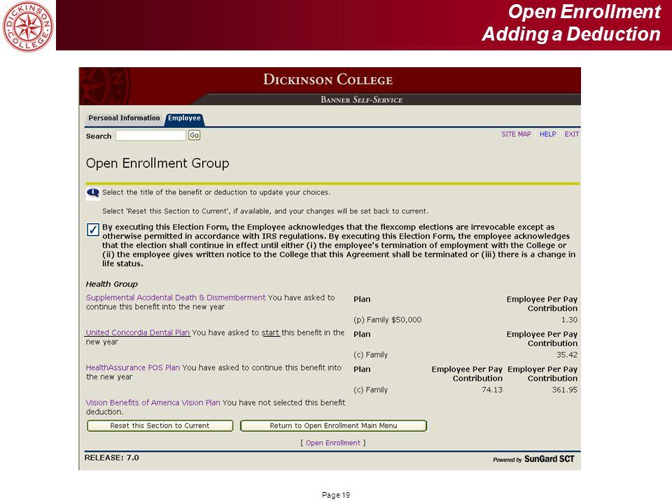 Page 19 Open Enrollment Adding a Deduction