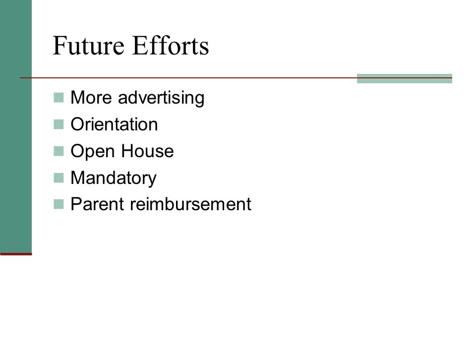 Future Efforts More advertising Orientation Open House Mandatory Parent reimbursement